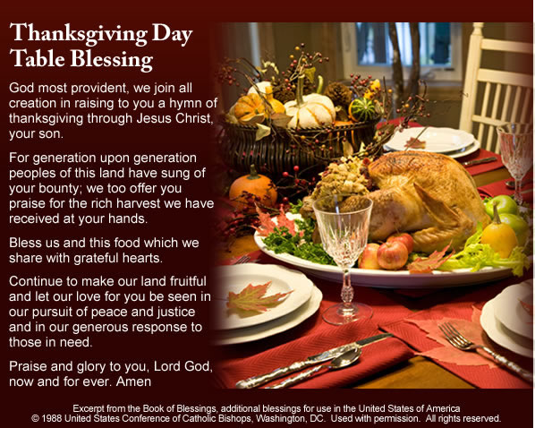 Thanksgiving Day Table Blessing -- God most provident, we join all creation in raising to you a hymn of thanksgiving through Jesus Christ, your son.  For generation upon generation peoples of this land have sung of your bounty; we too offer you praise for the rich harvest we have received at your hands.  Bless us and this food which we share with grateful hearts.  Continue to make our land fruitful and let our love for you be seen in our pursuit of peace and justice and in our generous response to those in need.  Praise and glory to you, Lord God, now and for ever.  Amen  (Excerpt from the Book of Blessings, additional blessings for use in the United States of America  © 1988 United States Conference of Catholic Bishops, Washington, DC.  Used with permission.  All rights reserved.