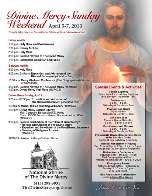 Divine Mercy Sunday Weekend [PDF] flyer for April 5-7, 2013 at the National Chrine of The Divine Mercy.